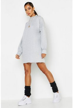 Womens Grey Funnel Neck Oversized Sweat Dress