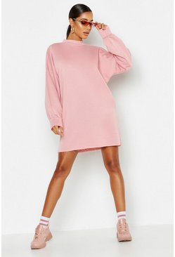 Womens Mink Funnel Neck Oversized Sweat Dress