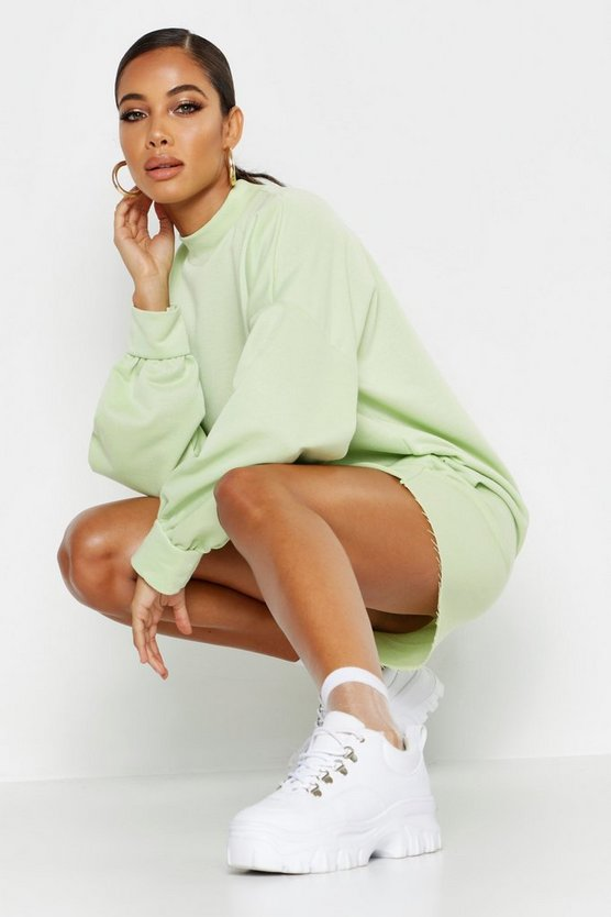 Womens Mint Funnel Neck Oversized Sweat Dress