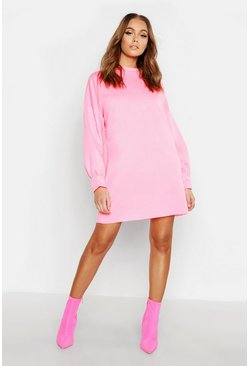 Womens Neon-pink Funnel Neck Oversized Sweat Dress