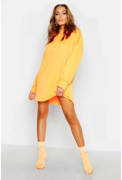 Funnel Neck Oversized Sweat Dress, Neon-orange, MUJER