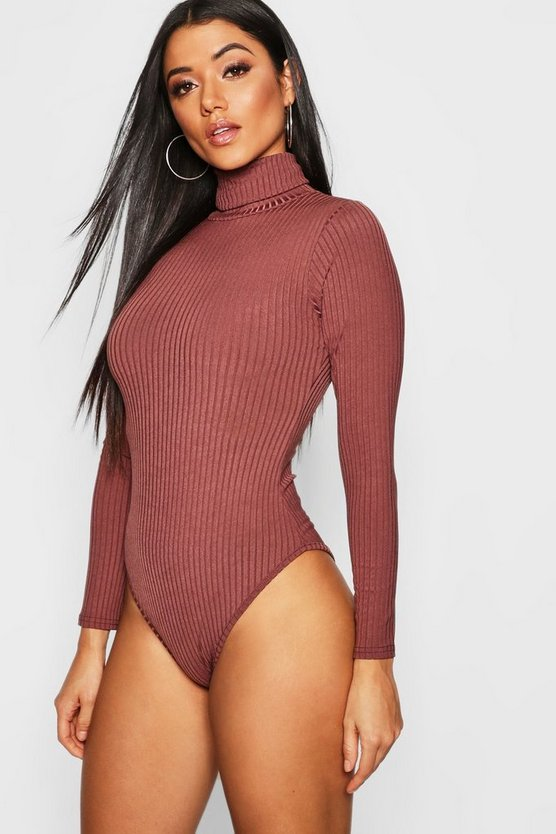 Womens Chocolate Jumbo Rib Roll Neck Body