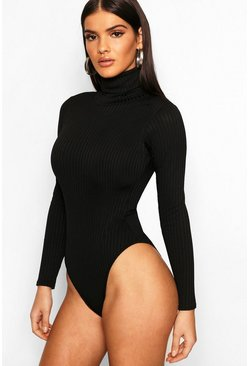 Womens Black Jumbo Rib Roll Neck Body