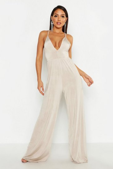 Womens Taupe Deep Plunge Wide Leg Jumpsuit
