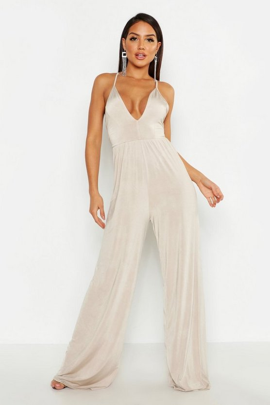 Deep Plunge Wide Leg Jumpsuit