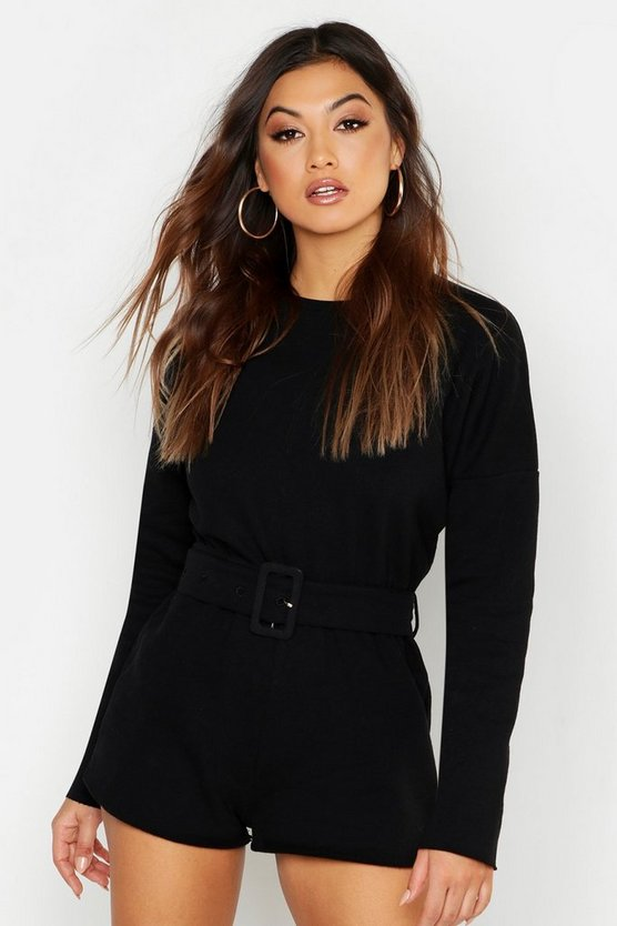 Womens Black Belted Sweat Playsuit