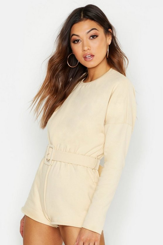 Belted Sweat Playsuit, Ecru, ЖЕНСКОЕ