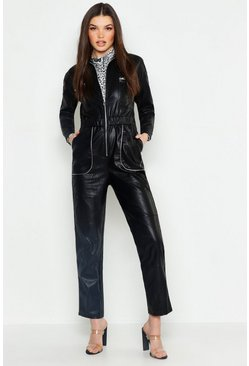Womens Black Leather Look Boiler Jumpsuit