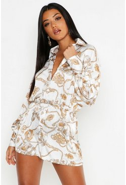 Womens White Chain Print Balloon Sleeve Playsuit