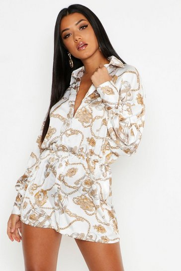 Womens Chain Print Balloon Sleeve Playsuit