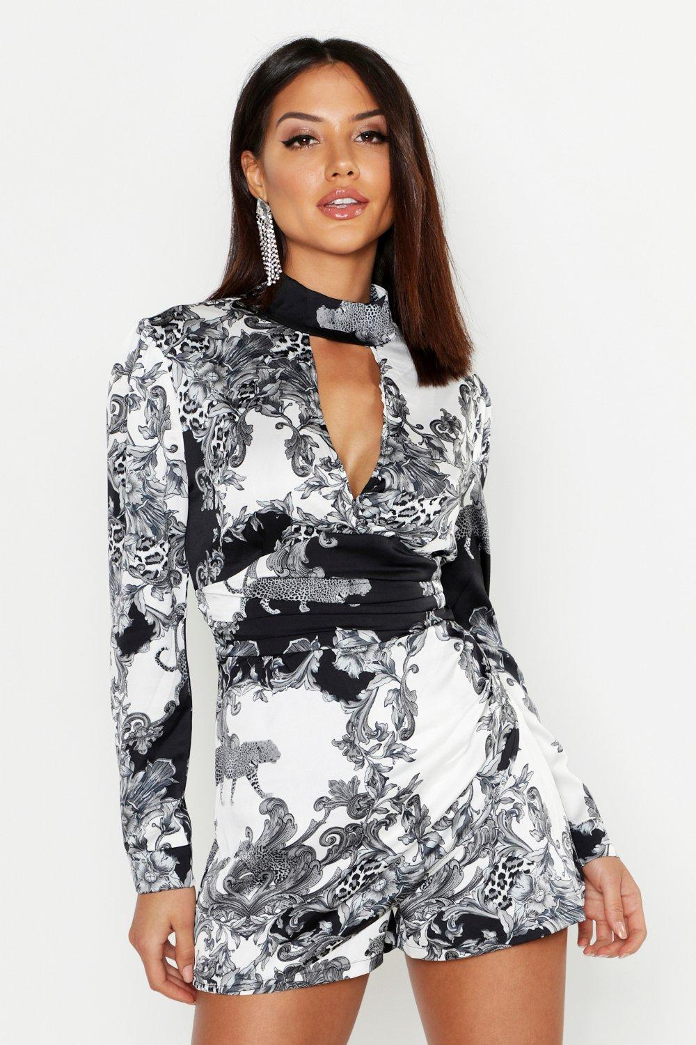 Satin Scarf Print High Neck Skort Playsuit