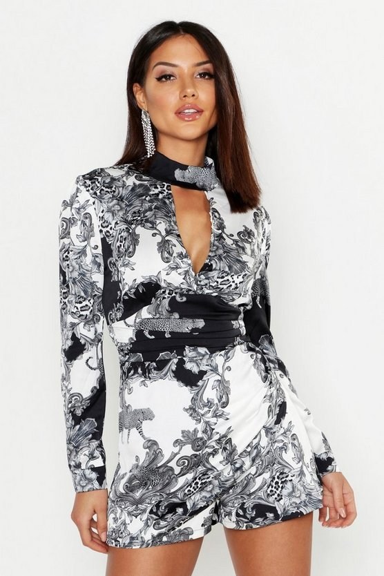 Satin Scarf Print High Neck Skort Romper