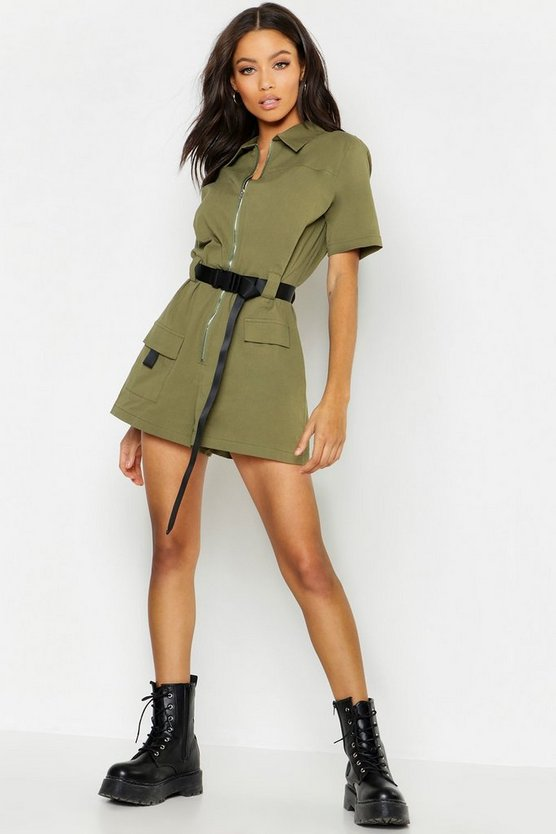 Womens Khaki Utility Safety Buckle Cargo Playsuit
