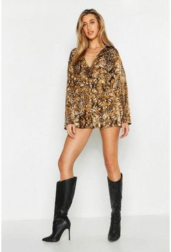 Womens Tan Belted Mixed Animal Print Playsuit