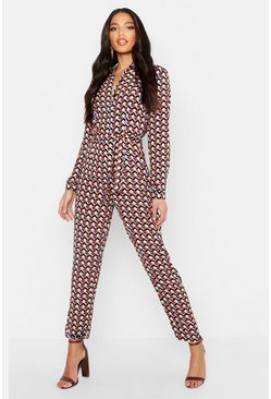 Womens Black Geo Print Shirt Jumpsuit