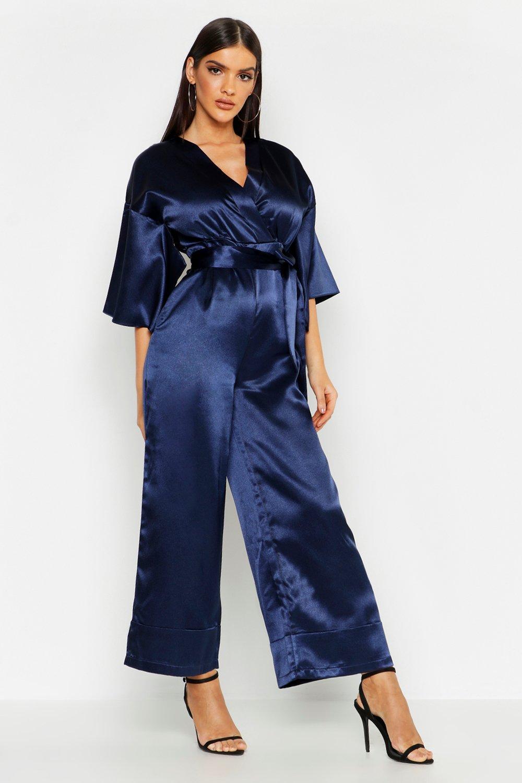 70s Jumpsuit | Disco Jumpsuits – Sequin, Striped, Gold, White, Black Satin Kimono Sleeve Jumpsuit $38.00 AT vintagedancer.com