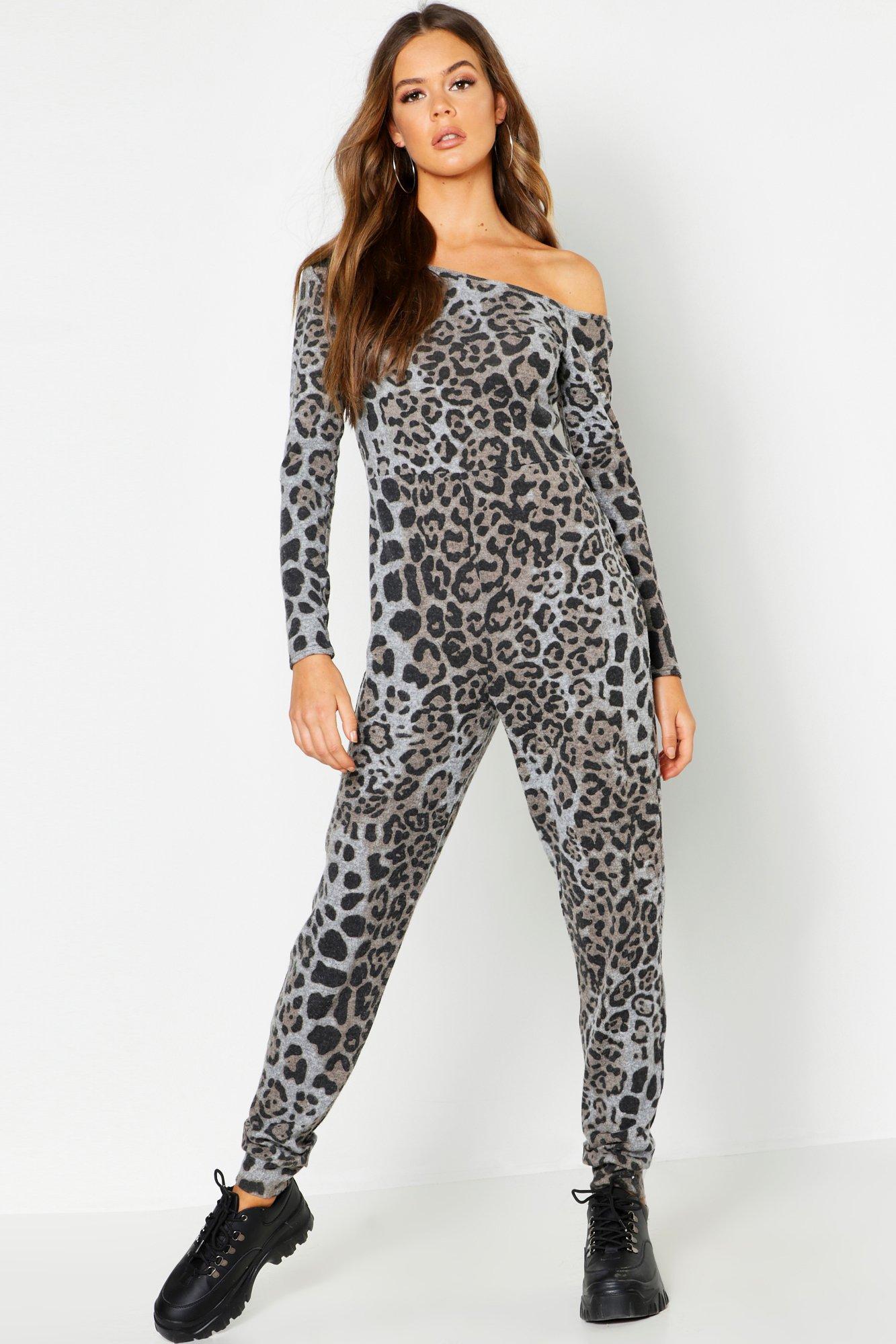 Brushed Fleece Animal Bardot Jumpsuit