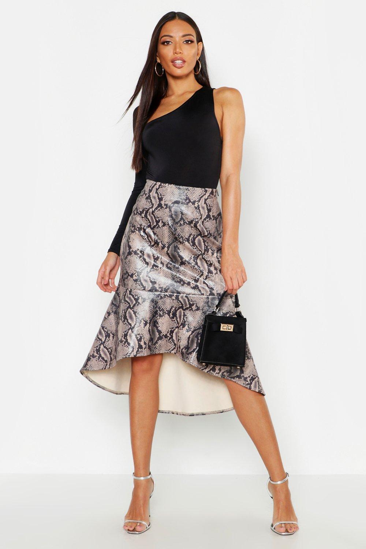 Snake Leather Look Mermaid Midi Skirt