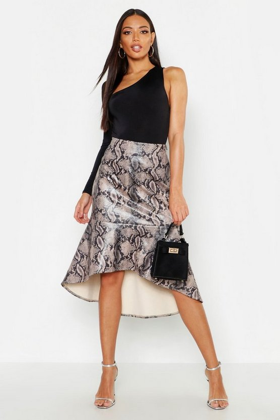 Womens Sand Snake Leather Look Mermaid Midi Skirt