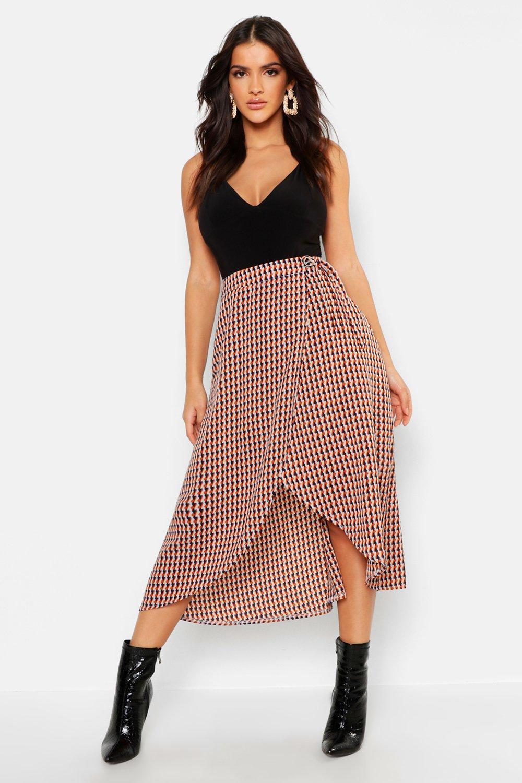 Geo Print Wrap Midaxi Skirt
