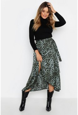 Satin Green Leopard Wrap Midaxi Skirt, Donna