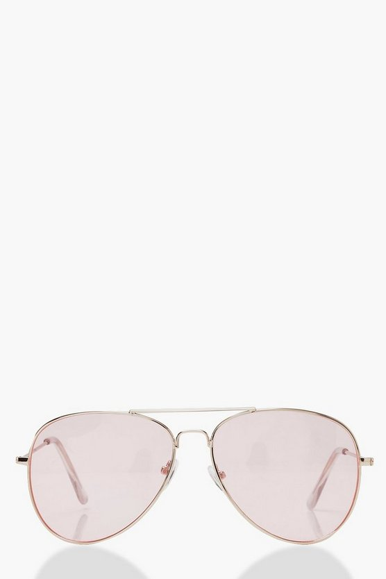 Womens Pink Pale Pink Lens Aviator Sunglasses