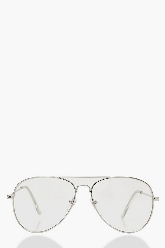 Womens Clear Clear Lens Aviator Glasses