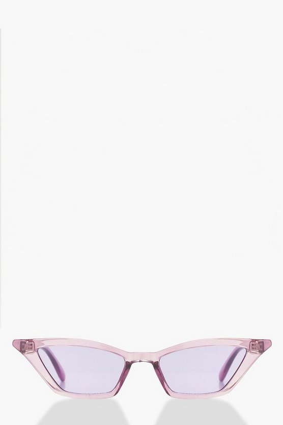 Purple Winged Skinny Cat Eye Sunglasses