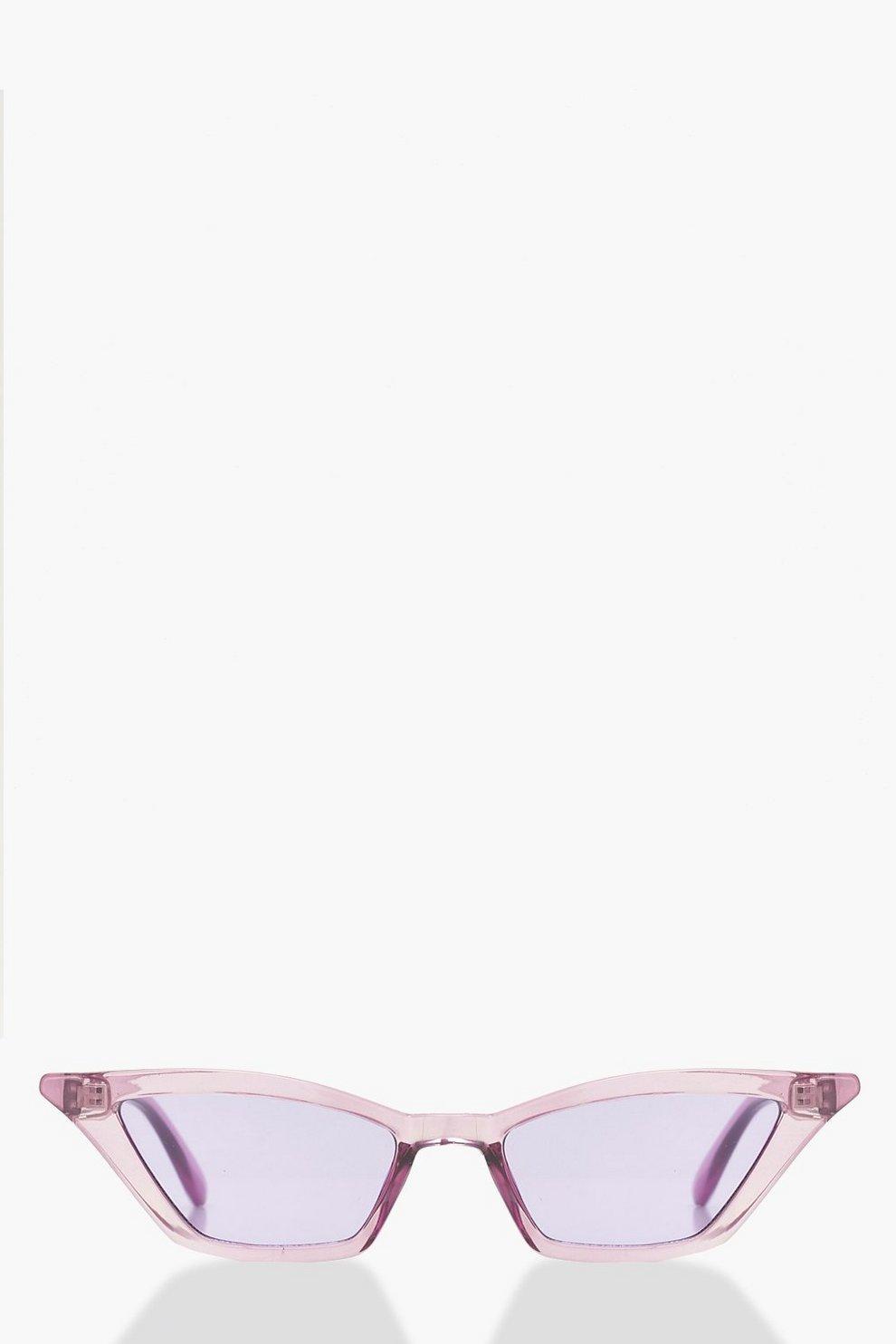 c8c902871ff9 Purple Winged Skinny Cat Eye Sunglasses | Boohoo