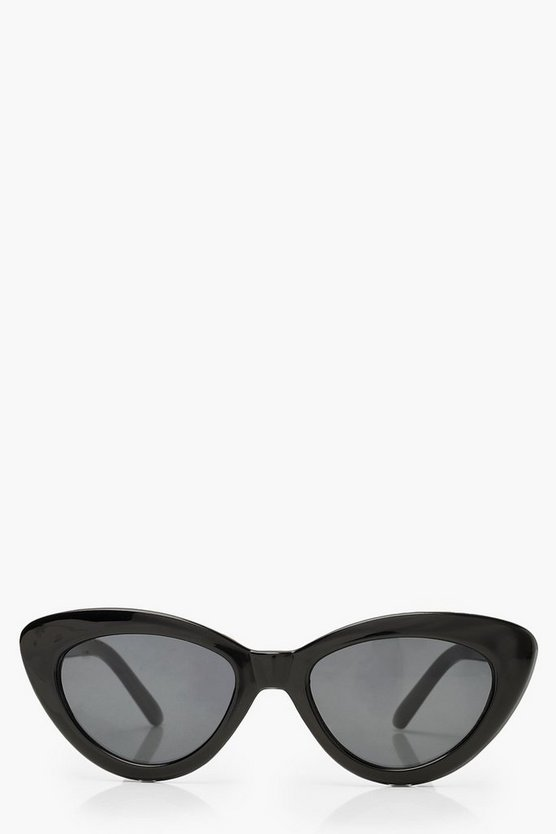Womens Black Black Skinny Cat Eye Sunglasses