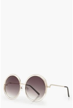 Cut Out Frame Round Sunglasses, Dark brown, FEMMES