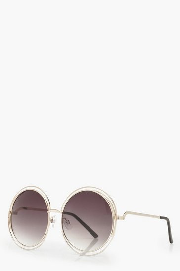Dark brown Cut Out Frame Round Sunglasses