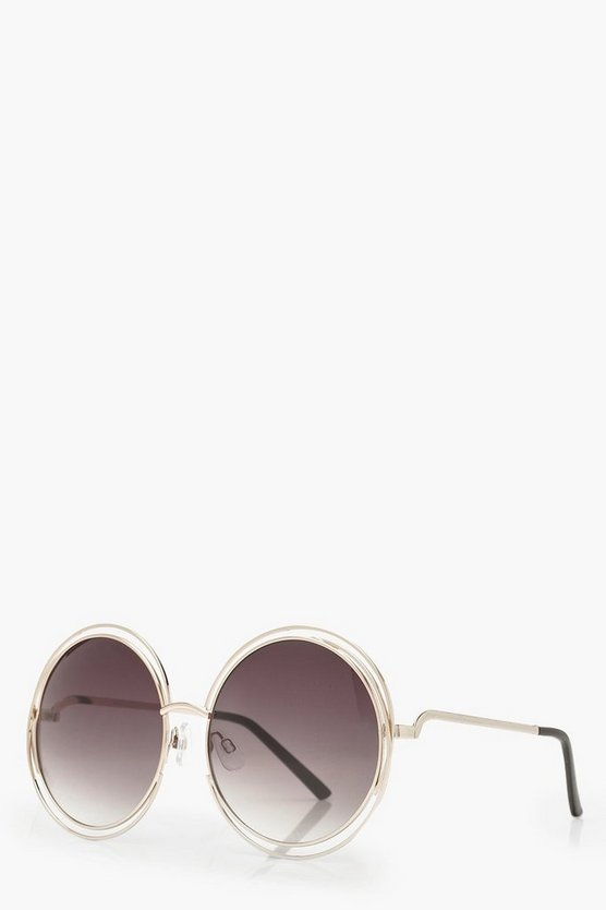 Cut Out Frame Round Sunglasses, Dark brown, Donna