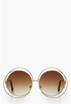 Cut Out Frame Round Sunglasses, Brown, Donna