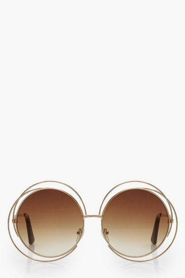 Womens Brown Cut Out Frame Round Sunglasses