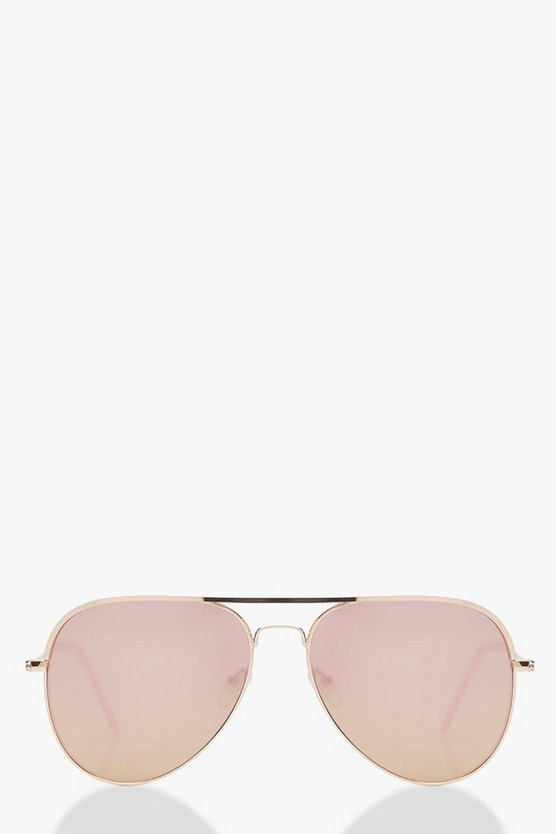 Womens Rose Gold Lens Aviator Sunglasses