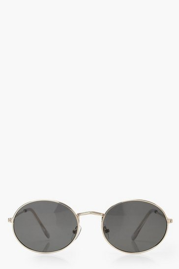 Womens Round Gold Frame Sunglasses