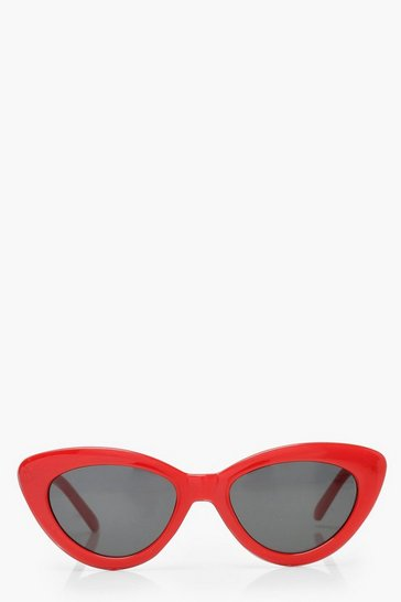 Womens Red Skinny Cat Eye Sunglasses