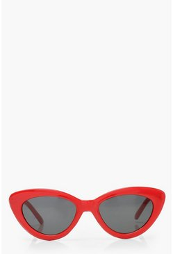 Skinny Cat Eye Sunglasses, Red, FEMMES