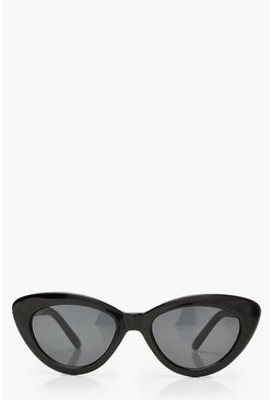 Womens Black Skinny Cat Eye Sunglasses