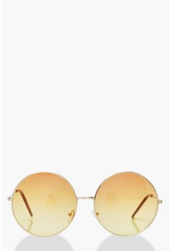 Ombre Coloured Lens Round Sunglasses, Red, Donna