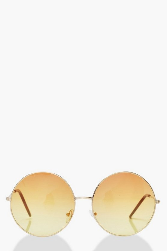 Ombre Coloured Lens Round Sunglasses, Red, DAMEN