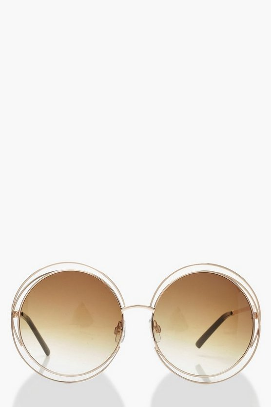 Womens Brown Cut Out Frame Round Sunglasses & Case
