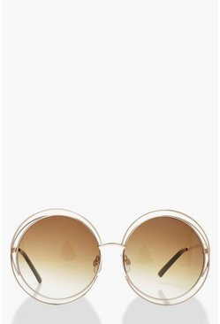 Cut Out Frame Round Sunglasses & Case, Brown, ЖЕНСКОЕ