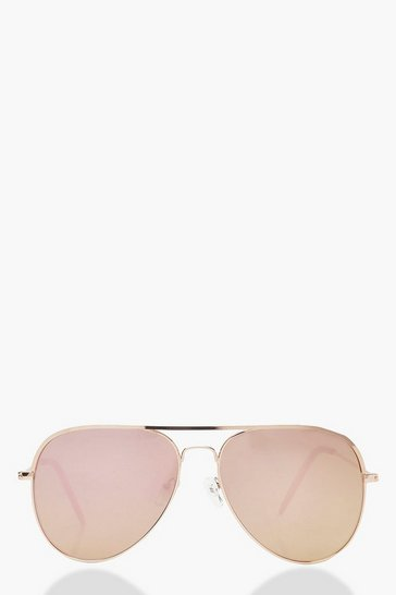 Womens Rose Gold Lens Aviator Sunglasses & Case