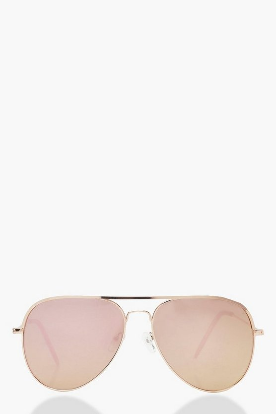 Rose Gold Lens Aviator Sunglasses & Case, ЖЕНСКОЕ