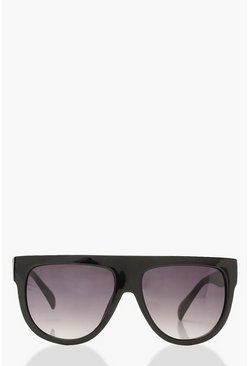 Oversized Flat Top Sunglasses & Case, Black, FEMMES