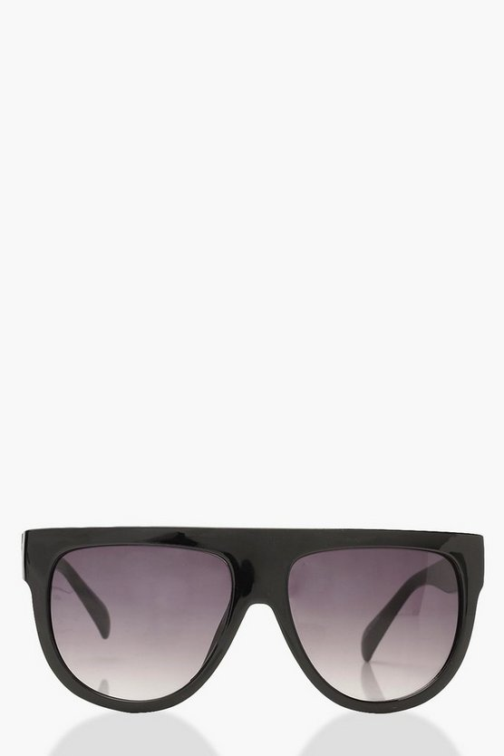 Oversized Flat Top Sunglasses & Case, Black, ЖЕНСКОЕ
