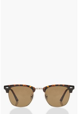 Square Top Tortoiseshell Sunglasses & Case, Brown, DAMEN