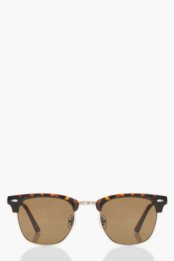 Square Top Tortoiseshell Sunglasses & Case